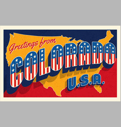 greetings from colorado usa retro style postcard vector image