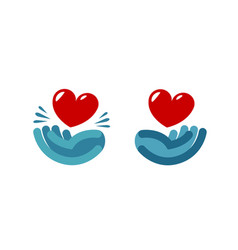 Hand and heart logo care health charity icon vector