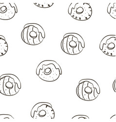 hand drawing beautiful donuts food pattern vector image