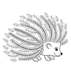 Hand drawn artistic Hedgehog for adult coloring vector image