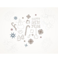 Hand Drawn Christmas and New Year vector