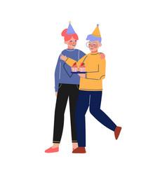Happy teen boy and girl celebrating birthday vector
