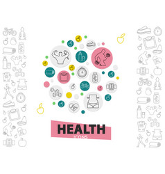 Healthy lifestyle line icons collection vector