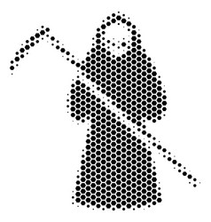 Hexagon halftone death scytheman icon vector