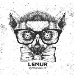 Hipster animal lemur hand drawing muzzle of vector