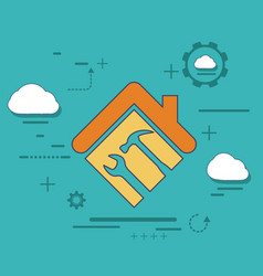 icon house with a wrench and hammer vector image