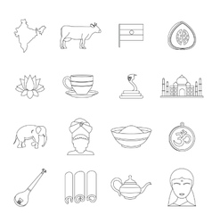 India travel icons set outline style vector