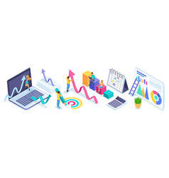 isometric people in the process of work teamwork vector image