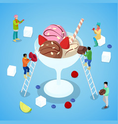 isometric people making ice cream with chocolate vector image