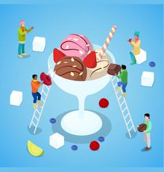 Isometric people making ice cream with chocolate vector