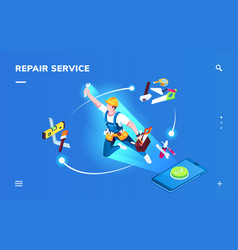 isometric smartphone repair service application vector image