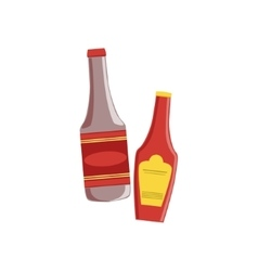 Ketchup And Sauce Set Of Pizza Ingredients vector