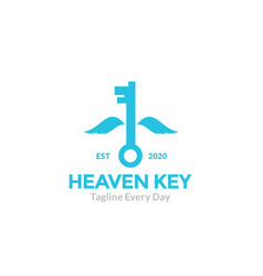 Key with wings to flying logo design vector