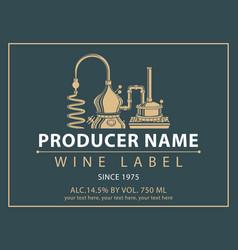 Label for wine with production of wine vector