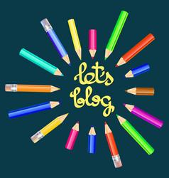 Lets blog card for socia vector