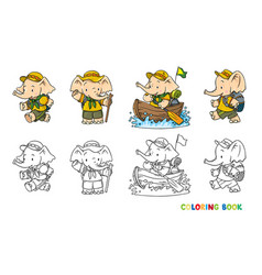 Little baelephant scout camp coloring book set vector