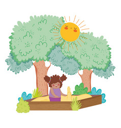 Little chubby girl playing in sand box landscape vector