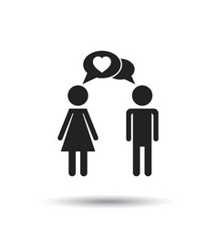 man and woman with heart icon on white background vector image