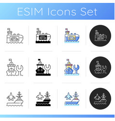 Maritime industry icons set vector