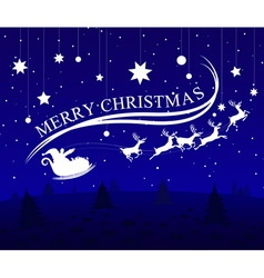 Merry christmas santa claus and deer vector image