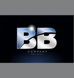 Metal blue alphabet letter bb b b logo company vector