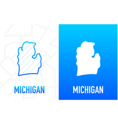 Michigan - us state contour line in white vector