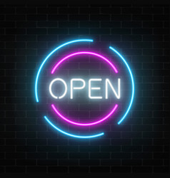 Neon open 24 hours and 7 days in circle frames vector