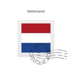 Netherlands flag postage stamp vector