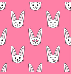 Pattern with rabbits with different emotions vector