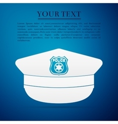 Police cap flat icon on blue background vector