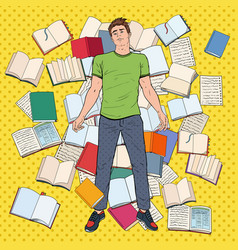 Pop art tired student lying on floor among books vector