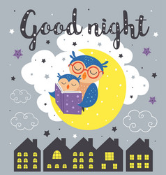poster with a sleeping owls vector image