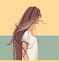pretty girl with long hair in sunglasses flat vector image