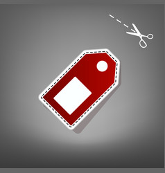 price tag sign red icon with for applique vector image