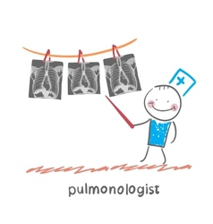 Pulmonologist shows an x-ray of human lung vector