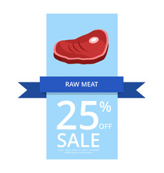 Raw meat 25 off sale on blue vector