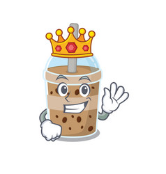 Royal king chocolate bubble tea cartoon vector