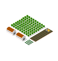 rural isometric natural ecological farm with the vector image