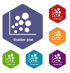Scatter plot icons hexahedron vector