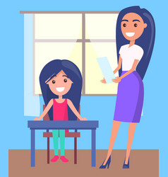 Schoolgirl sitting near window pretty teacher vector