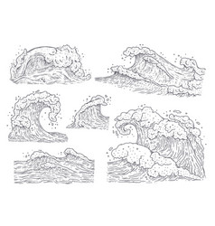 Sea water waves - black and white hand drawn set vector