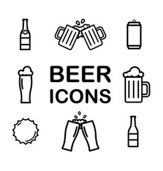 Set beer line icons alcohol drink pint vector