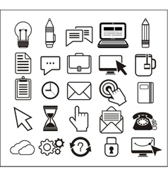 set black icons on white background vector image