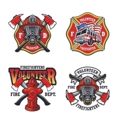 set firefighter emblems vector image