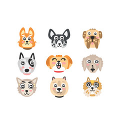 set funny cartoon dogs heads dogs different vector image