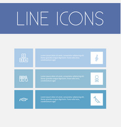 set of 6 editable science outline icons includes vector image