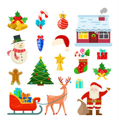 set of christmas decoration vector image