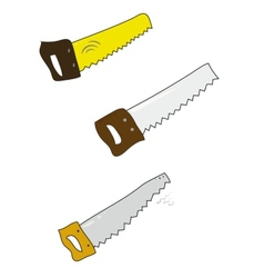 Set of colored handsaw on white vector