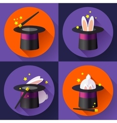 Set of icons Funny Rabbit in a magic hat vector