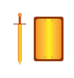 Set of sign shield rectangle and sword gold 1705 vector